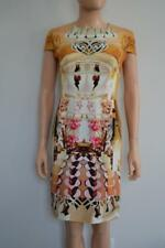 Mary Katrantzou Gold Multicolored Graphic/Floral Print Silk Dress Sz.US 6