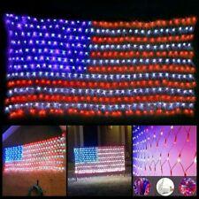 USA Flag Lights 420 LED American Flag Net String Light Hanging Garden Yard Decor