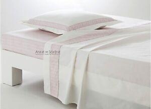 Anne de Solene of Paris King Bordered Sham Pivoine/Rose Pink Long Staple Cotton