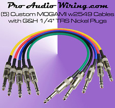 (5) MOGAMI 2549 Multi-Color TRS Nickel Studio Patch Cables - 4 ft.