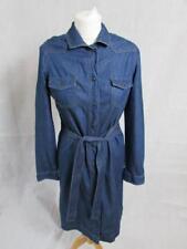 "NEXT Ladies Blue Denim Long Sleeve Shirt Dress Tie Belt Size 10 (L38"")Immaculate"