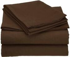 Sheet Set 4 PCs Chocolate Solid All Sizes 100 Percent  Cotton 400-Thread Count