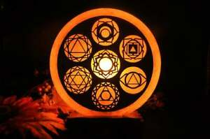 Himalayan Salt Lamp with 7 Chakra Signs Engraved On Wood Sheet, Dimmer Switch