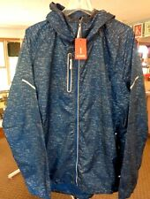 Elevate  Men's Reflective Strips  Pack-able Lightweight Hooded Jacket Size Large