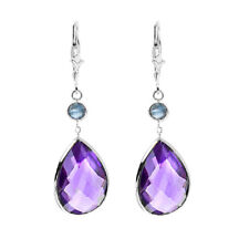 14K White Gold Gemstone Earrings with Pear Shape Amethyst and Round Blue Topaz