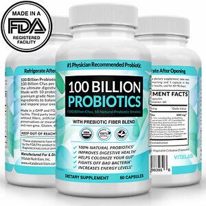 Probiotics 100 Billion CFU Potency Digestive Immune Health 60 Capsules