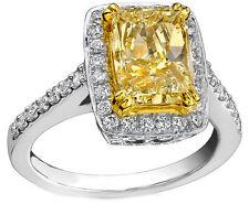 Yellow Cushion Cut Diamond Halo Engagement Ring