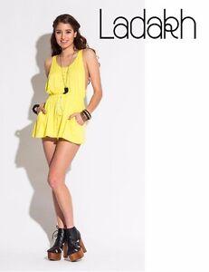 Womens Citrus Yellow Ladakh Romper Elastic Waist Sleeveless Sexy Summer Jumpsuit