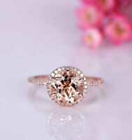 3Ct Round Cut Pink Morganite Diamond Halo Engagement Ring 14K Rose Gold Finish