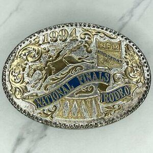 Award Design Medals Vintage 1994 Silver Plate National Finals Rodeo Belt Buckle