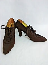 Walter Steiger Womens 7AA Narrow Brown Suede Pointed Toe Lace Up Heels Shoes