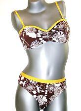 TRIUMPH Ensemble bikini - 85 B+ 42 TAI - marron jaune blanc col M003/T5 NEUF