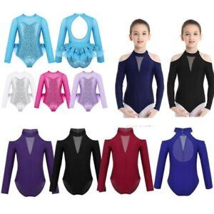 Kids Girls Gymnastics Jumpsuit Ballet Dance Leotard Unitards Workout Bodysuits