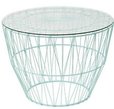 Round Mint Colour Coffee/Side Table Wire Metal with Glass Top -67cm Diam. Sale