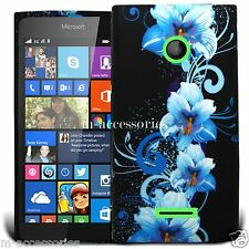 BLUE FLORAL SILICONE/GEL CASE COVER SKIN FOR NOKIA / MICROSOFT LUMIA 532 +SP