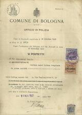 Ufficio di Polizia di Bologna Epoca Fascista Permesso di Vendita di Carne Bovina