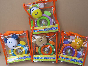 A-Z Teething Rattle Teddy, suitable for babies from birth upwards