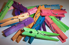 """25 Colored Wood Wooden 3"""" inch Large Spring Clothespins Clothes Pins Crafts NEW"""