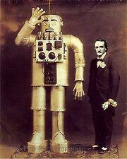 Edgar Allan Poe Art Print 8 x 10 - W/ Robot - Altered Art - Steampunk Victorian