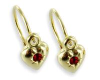 ECHT GOLD *** Kinder Herz Zirkonia rot Ohrringe Ohrhänger Bouton 15 mm