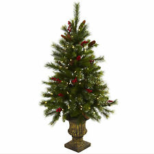 Artificial 4 ft Christmas Tree Red Berries Pine Cones & Lights in Urn Planter