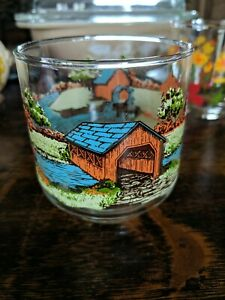 """Vintage Libbey Glass Covered Bridge Colorful 5"""" Tall Drinking Glasses Iced Tea"""