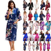 Women Satin Robe Kimono Night Gown Wedding Bridesmaid Robes Sleepwear Bathrobe