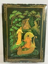 """Vintage Russian Lacquer Box Man Woman Boat Scene 5.5"""" x 4"""" Signed"""