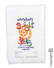 Bright Bots Quality 12PK White Terry Squares Washable Reusable Nappies 60x60cms