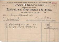 Billhead - Ross Bros.Agricultural Implements & Seeds - Worcester, MA - 1900