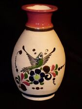 MEXICAN TONALA POTTERY VASE PARROT WITH FLOWERS ROYAL BLUE, MAUVE, GREEN 7 1/2""