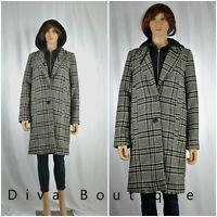ZARA Hooded Checked Coat Size S AW 2019 RRP £90 Free P&P