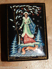 VTG RUSSIAN HAND PAINTED LACQUER   TRINKET BOX, GIRL AND FOX , HOLYN, ARTIST SIG
