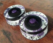 2 Guitar speed volume/tone knobs from 0-11. Purple Flake/White swirl/Black.  JAT