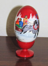 Hand Painted Collectible Wooden Russian Egg w/Stand Troika Winter