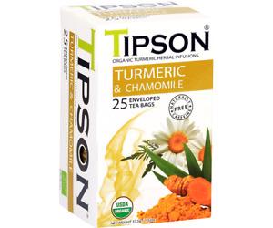 TIPSON Organic Turmeric & Camomile 25 Enveloped Tea Bags