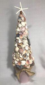 "SEASHELL Topiary Tree Starfish Pink Beach Bucket Centerpiece Shore Ocean 19"""
