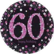 ROSA CELEBRACIÓN 60 Cumpleaños Prismático platos de papel - Pack 8
