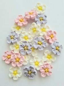 Edible Sugar Flowers in Pink, Lavender and White, Blossom Cake Toppers