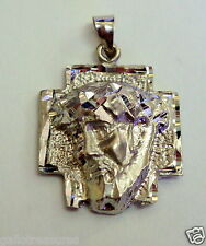 Brand New Solid 14K White Gold Christ Head Religious Charm Pendant