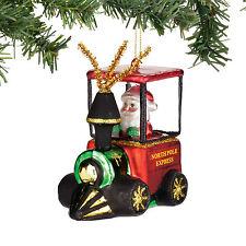 Santa In Choo Choo Train Glass Ornament Christmas Dept 56 Retro Christmas New