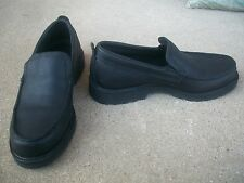 L L BEAN Men's Black Leather Loafers Slip On Shoes Sz 8 1/2 M VERY GOOD