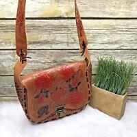 Artisan Brown Leather Floral Rose Embossed Hand Tooled Boho Purse Shoulder Bag
