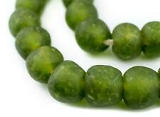 Lime Green Recycled Glass Beads 18mm Ghana African Sea Glass Round Large Hole