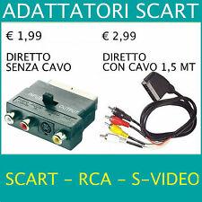 ★ADATTATORE Cavo SCART Maschio/Femmina + Audio RCA S-VIDEO Presa IN OUT S-vhs TV