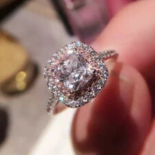 3ct Square Women's Pink&White Wedding AAA CZ 925 Silver Engagement Ring Sz 4-9.5