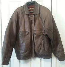 Men's Anchor Blue Authentic Distress Brown Leather Bombers Jacket Size Large