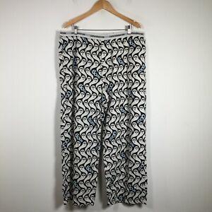 Peter Alexander Mens Pyjama Sleep Pants Siz 2XL White Ghost Elastic Waist Cotton