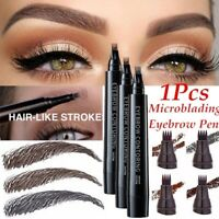 Microblading Tattoo Eyebrow Pencil Waterproof 4 Fork Tips Eye Brow Pen Enhancer