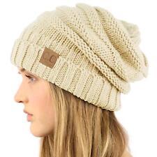 Oversized Chunky Thick Soft Stretch Knit Slouch Beanie Skull Ski Hat Cap Beige